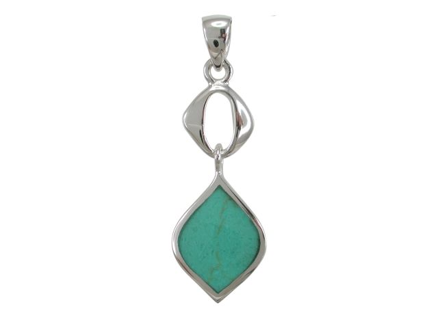 Sterling Silver 25x11mm Green Turquoise Pendant