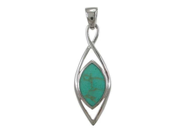 Sterling Silver 30x11mm Marquise Green Turquoise Pendant