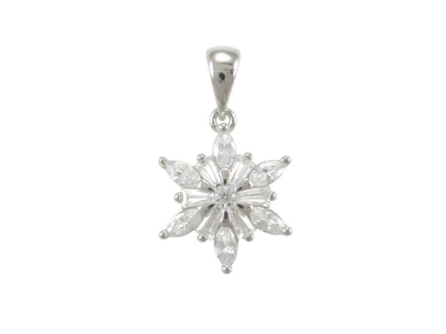 Sterling Silver 14x12mm Marquise White Cubic Zirconia Star Flower Cluster Pendant