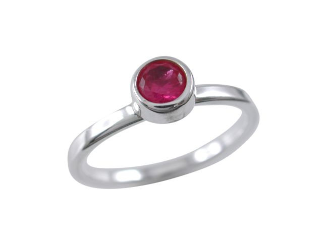 Sterling Silver 6mm Round Fuschia Cubic Zirconia Ring