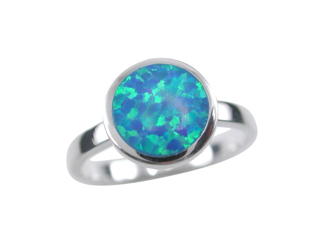 Sterling Silver 9.5mm Round Blue Synthetic Opal Ring