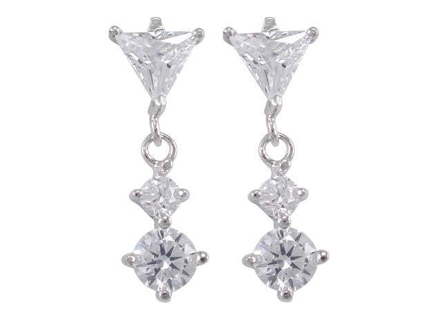 Sterling Silver 20x8mm Triangle White Cubic Zirconia Stud Earrings