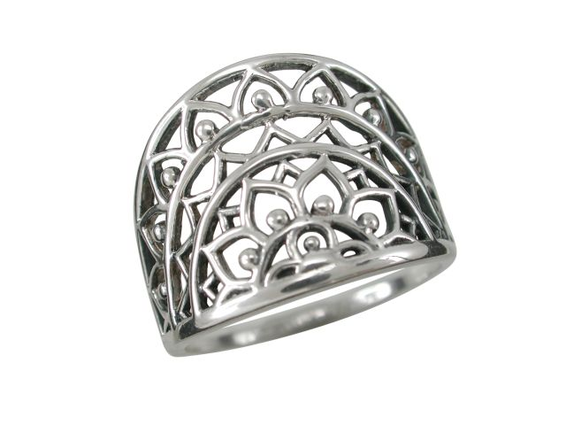 Sterling Silver 16mm Bohemian Style Half Circle Ring