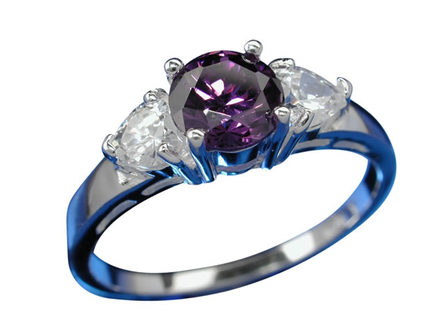 Sterling Silver 5.5mm Purple Cubic Zirconia Ring