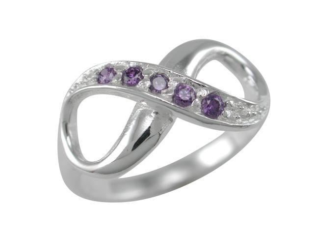 Sterling Silver 9mm Purple Cubic Zirconia Infinity Ring