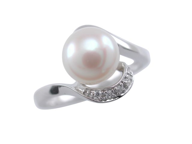Sterling Silver 8mm White Freshwater Pearl & White Cubic Zirconia Crossover Ring