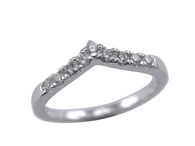 Sterling Silver 2mm V Shaped White Cubic Zirconia Ring