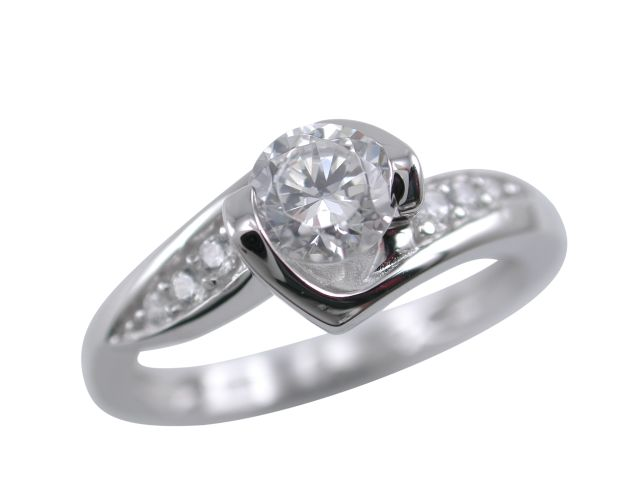 Sterling Silver 7.5mm White Cubic Zirconia Ring