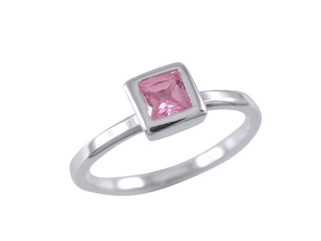 Sterling Silver 6mm Square Pink Cubic Zirconia Ring