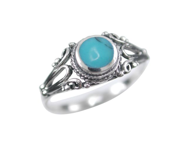 Sterling Silver 8mm Round Blue Turquoise Antique Style Ring