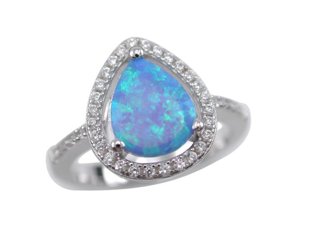 Sterling Silver 13mm Synthetic Opal & White Cubic Zirconia Teardrop Ring