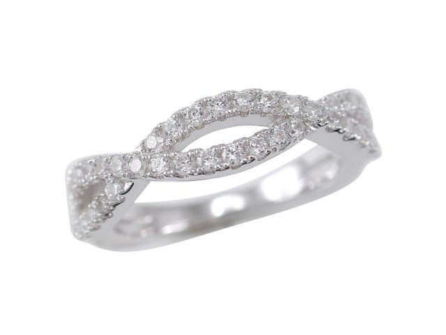Sterling Silver 4.5mm White Cubic Zirconia Infinity Ring