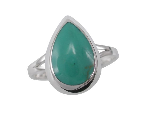 Sterling Silver 13mm Teardrop Green Turquoise Ring