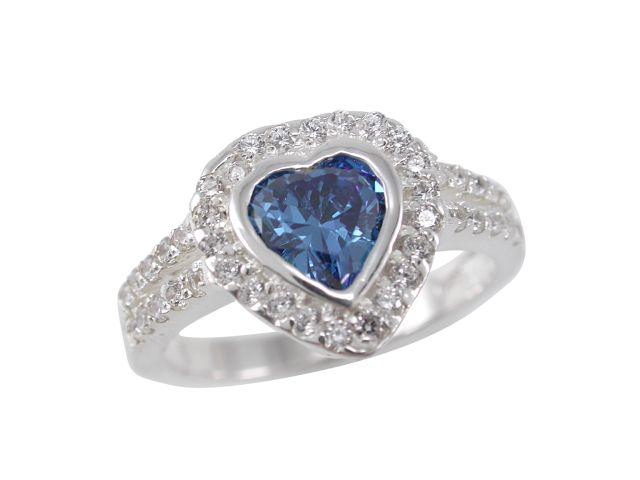 Sterling Silver 11mm Blue Cubic Zirconia Heart Ring