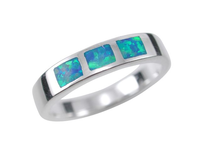 Sterling Silver 4mm Rectangle Synthetic Opal Ring