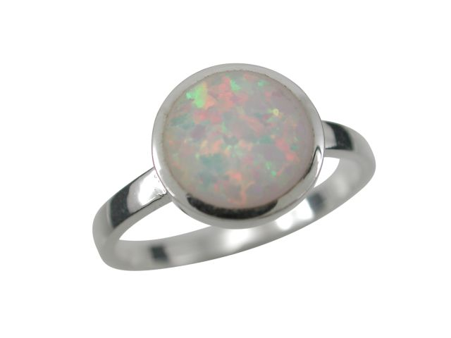 Sterling Silver 9.5mm Round White Synthetic Opal Ring