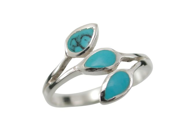 Sterling Silver 12mm Teardrop Blue Turquoise Ring