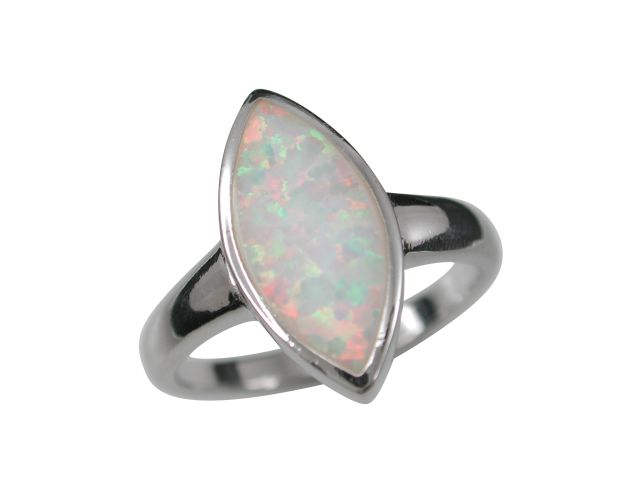 Sterling Silver 16mm Marquise White Synthetic Opal Ring