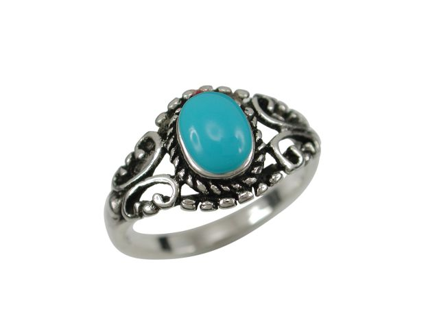 Sterling Silver 10mm Oval Blue Turquoise Bohemian Style Ring