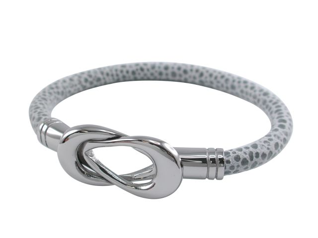 Stainless Steel 15mm Interlocking Grey Patterned Suede Bangle 19cm
