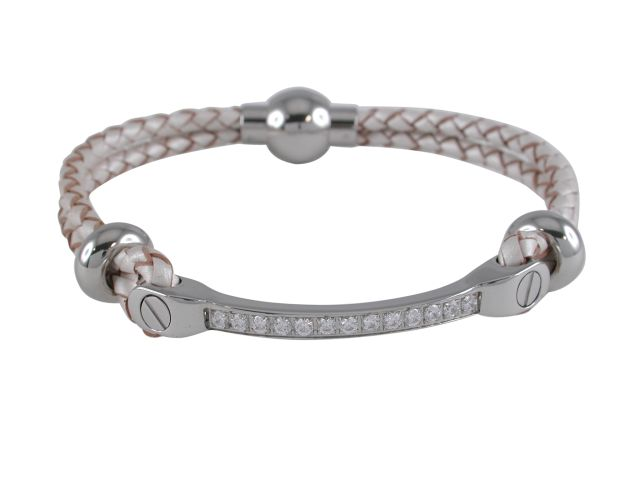 Stainless Steel White Cubic Zirconia Id Bar Pearl Leather Bracelet 19cm
