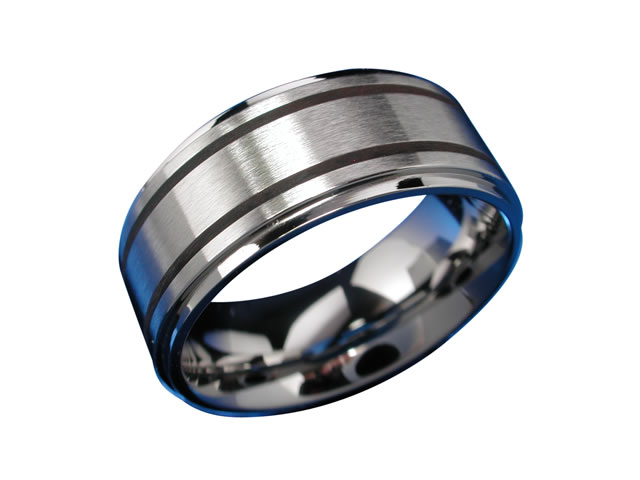 Stainless Steel 8.8mm 2 Black Lines Ring