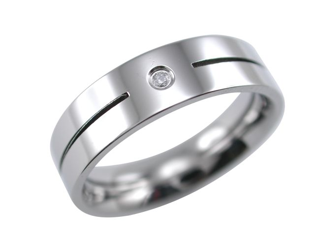 Stainless Steel 6mm White Cubic Zirconia Line Ring