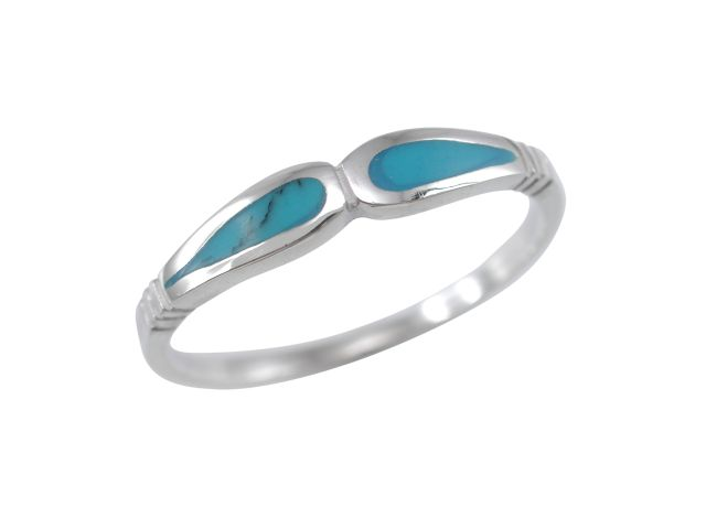 Sterling Silver 3mm Blue Turquoise Ring