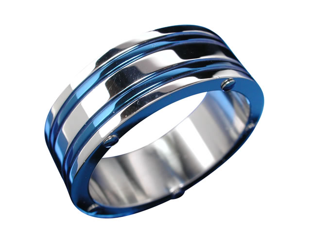 Stainless Steel 9mm 2 Blue Lines And Blue Dots Ring