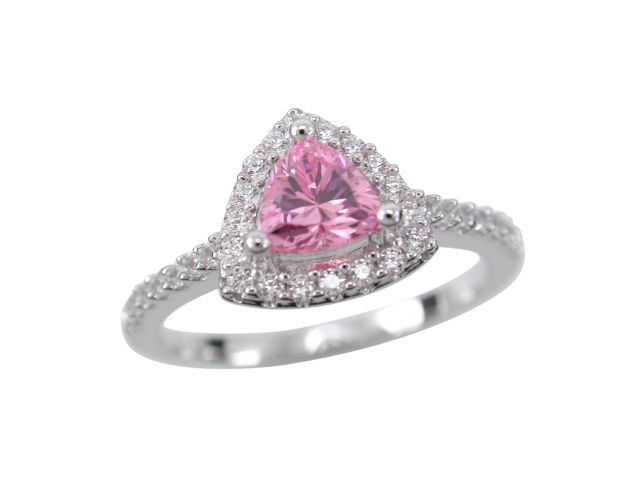 Sterling Silver 9mm Pink Cubic Zirconia Trilliant Ring