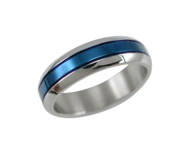 Stainless Steel 6mm Bevel Edge Blue Anodised Centre Ring