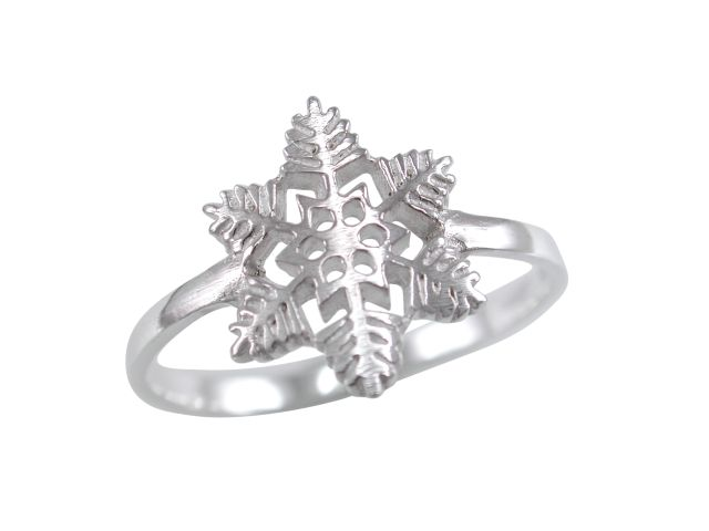 Sterling Silver 12mm Snowflake Ring