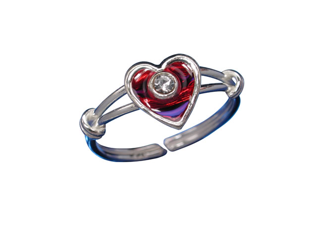 Sterling Silver 7mm White Crystal & Red Heart Toe Ring