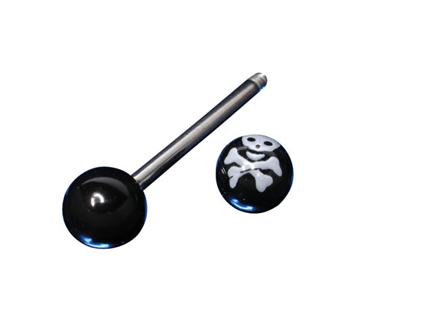 Surgical Steel Barbell With Uv Skull And Crossbone 1.6 X 16 X 6mm