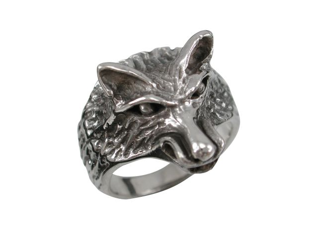 Sterling Silver 20mm Wolf Ring