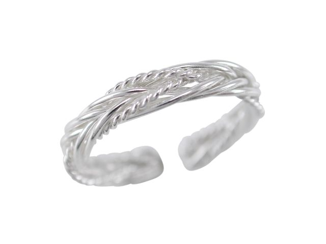 Sterling Silver 3mm Plaited Toe Ring